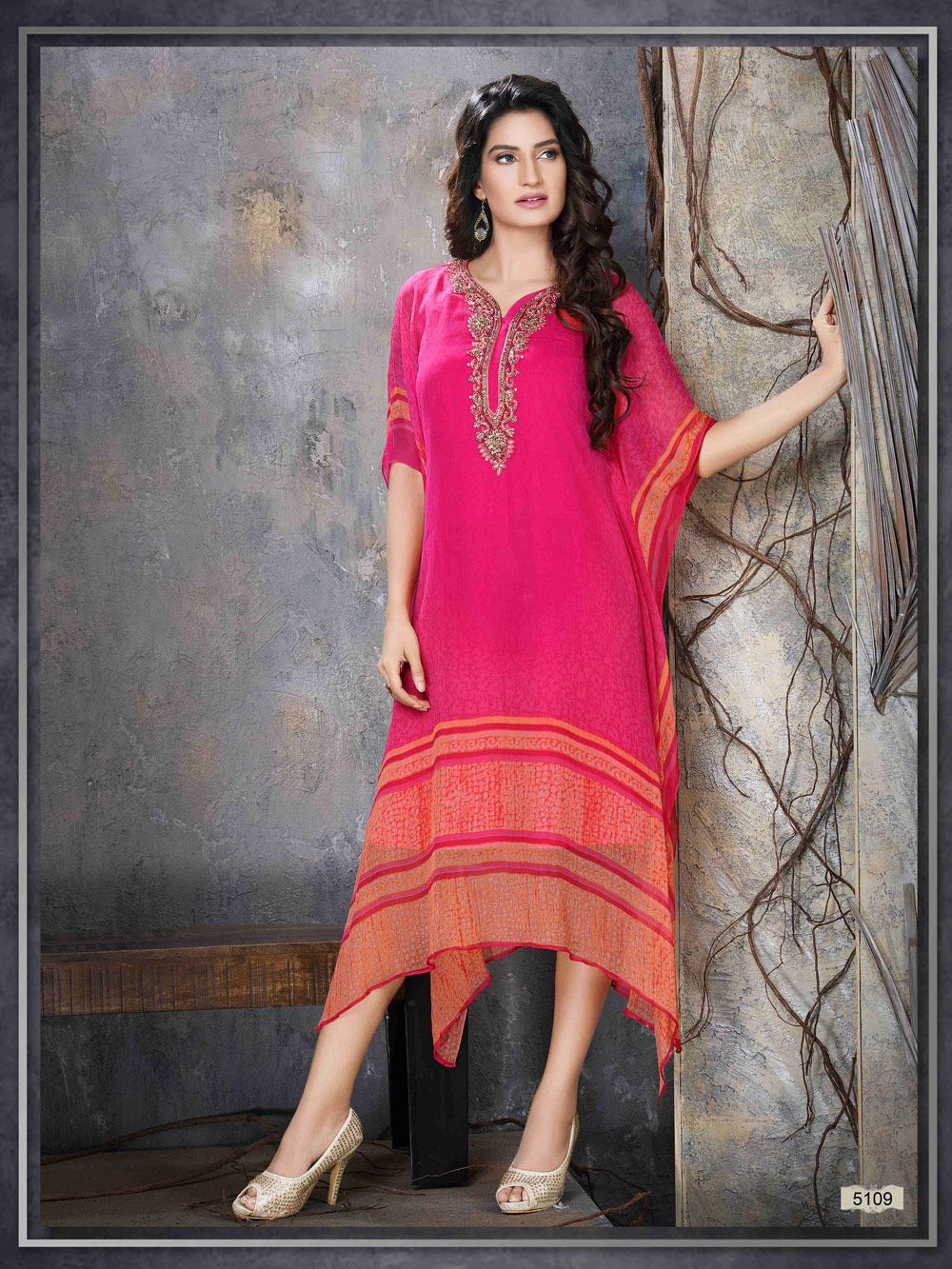 Pink & orange kaftan with elegant handwork