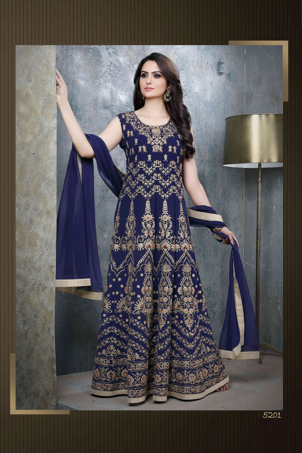 Classy midnight blue Anarkali with magnificent embroidery