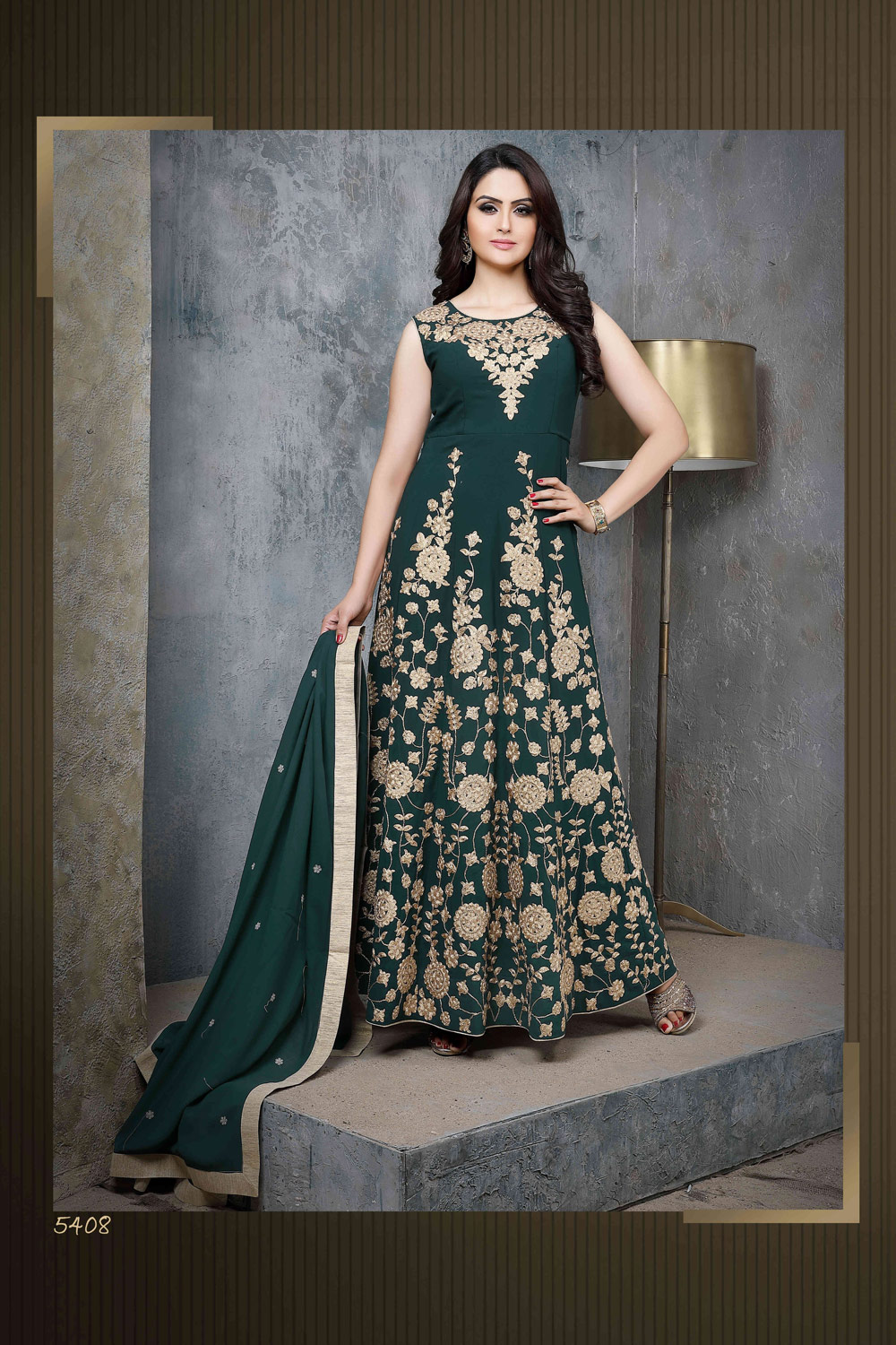 Embroidered floor length party wear Anarkali