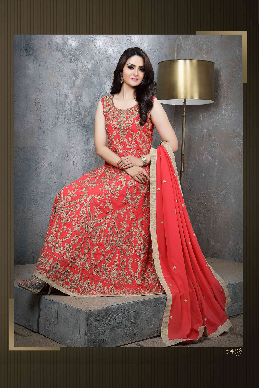 Orange floor length Anarkali with Resham work