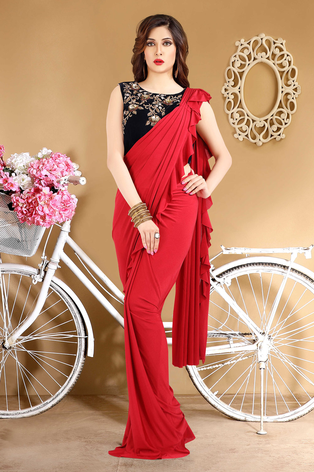 Red ready to wear sari with contrasting blouse