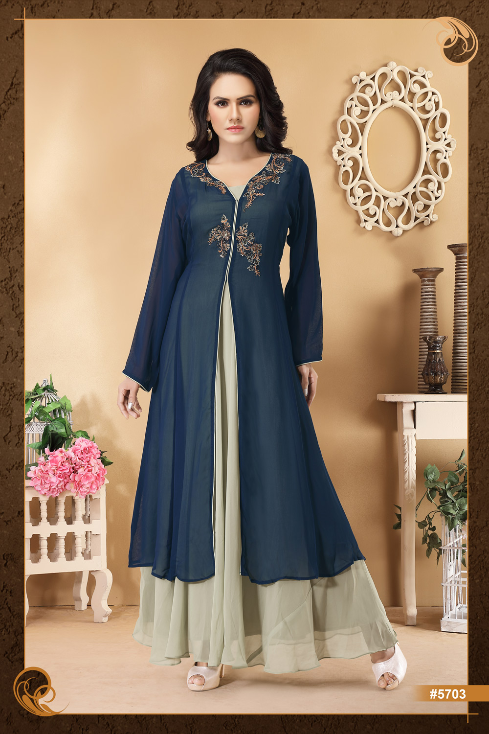 Layered gown-style Kurti with hand embroidery