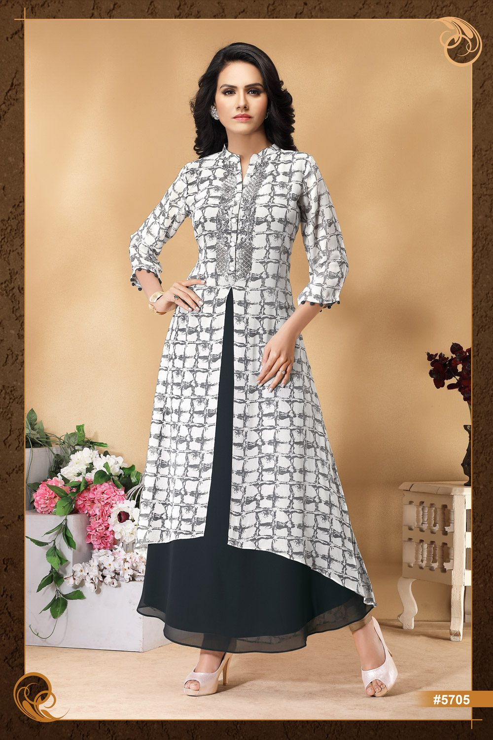 Graceful gown-style Kurti with light embroidery at yoke