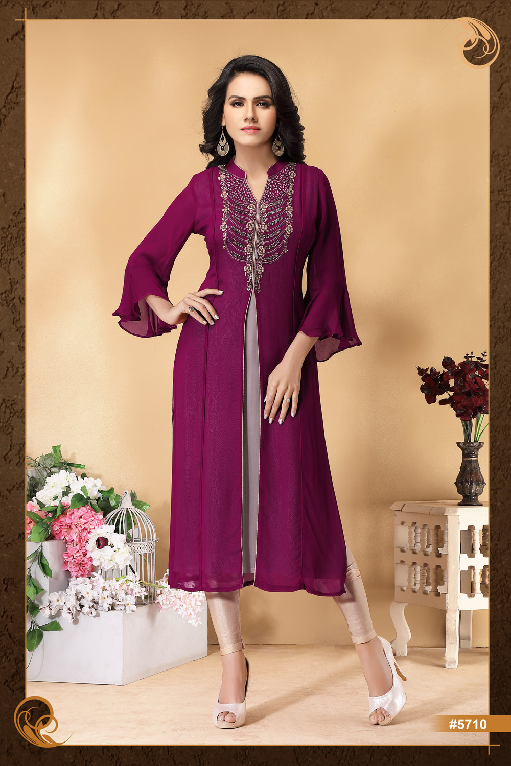 Bell sleeved Kurti with stunning hand work