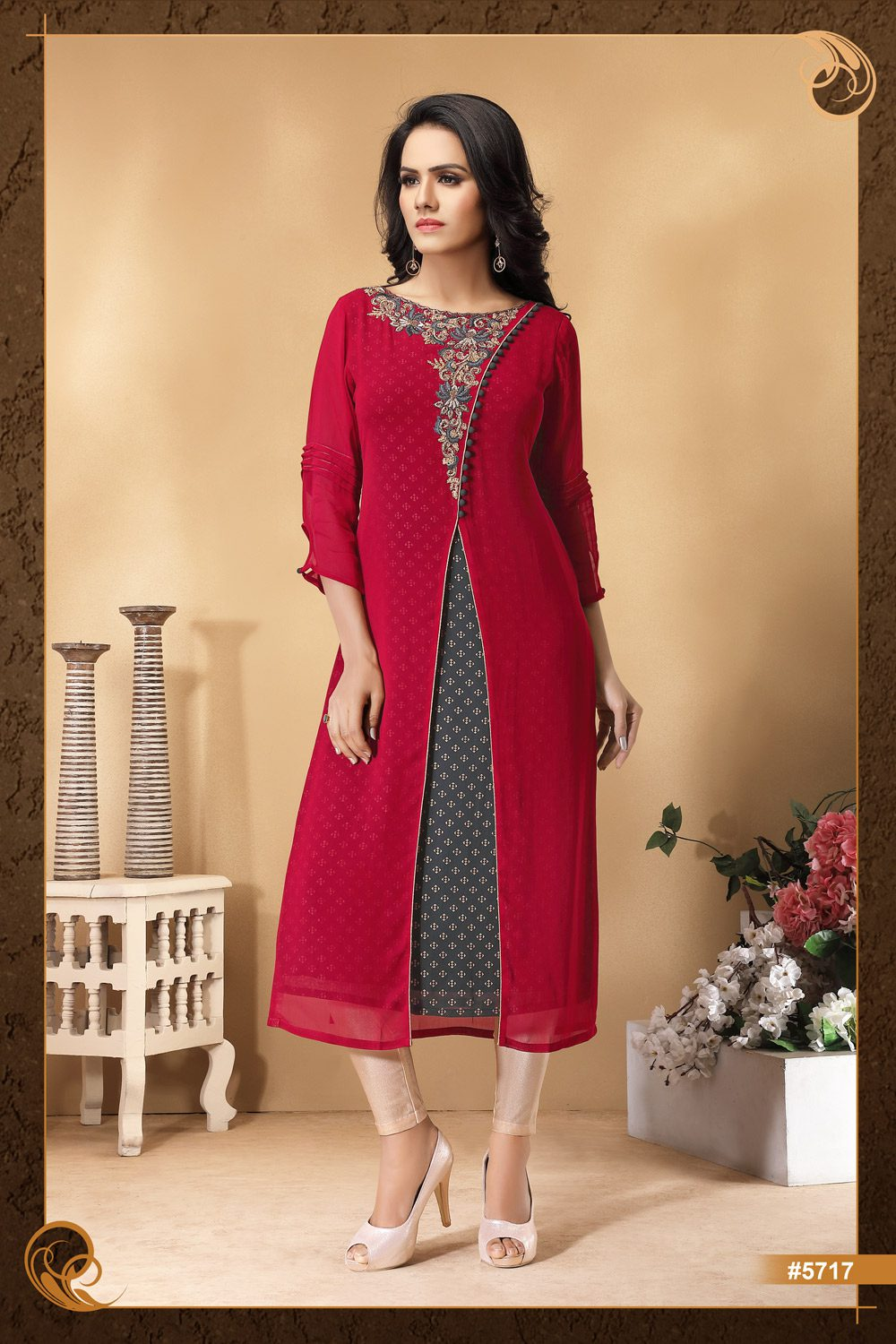 2 toned layered Kurti with hand embroidery