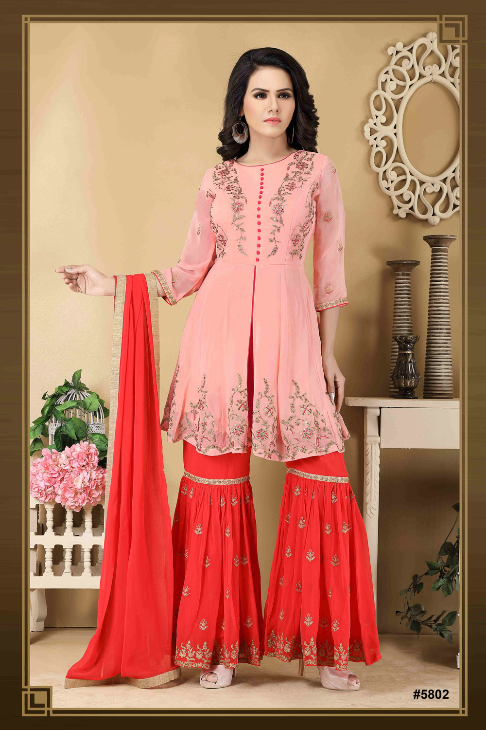 Peach & Red hand embroidered Sharara