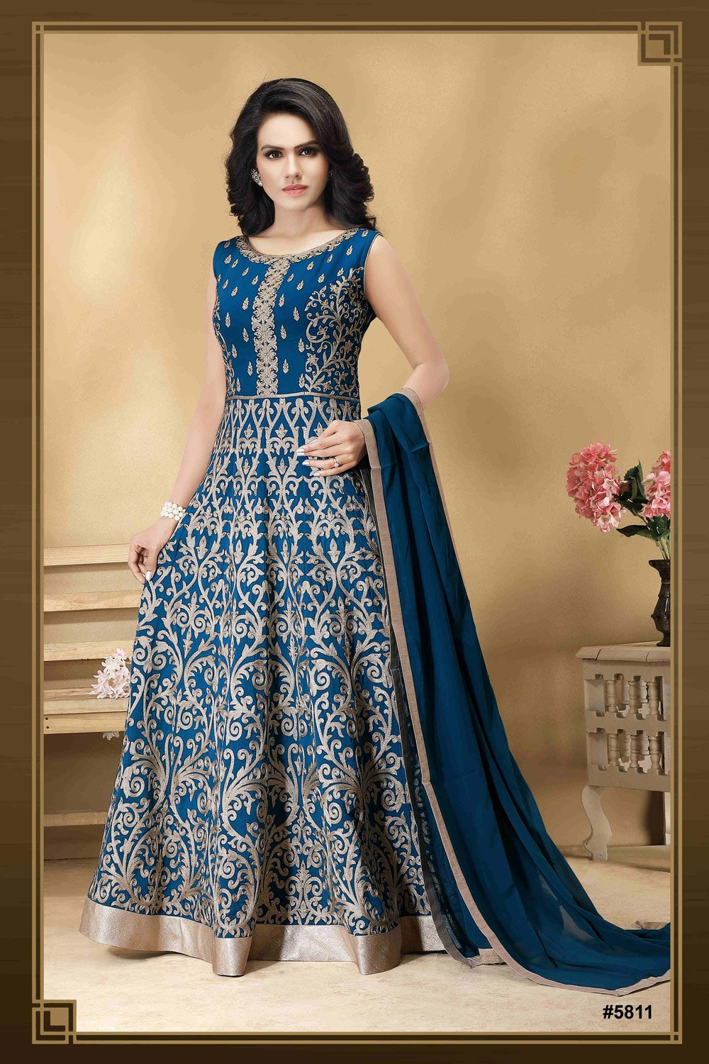 Soft Anarkali with intricate Resham Work