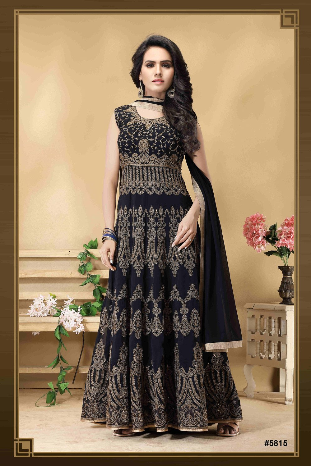 Beautiful black Anarkali with rich embroidery