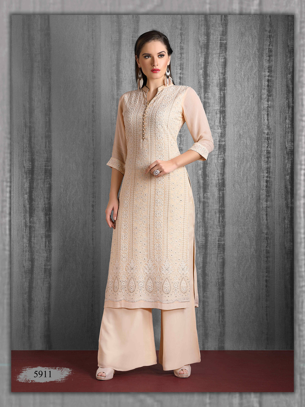 Lakhnavi Kurti in pastel colour