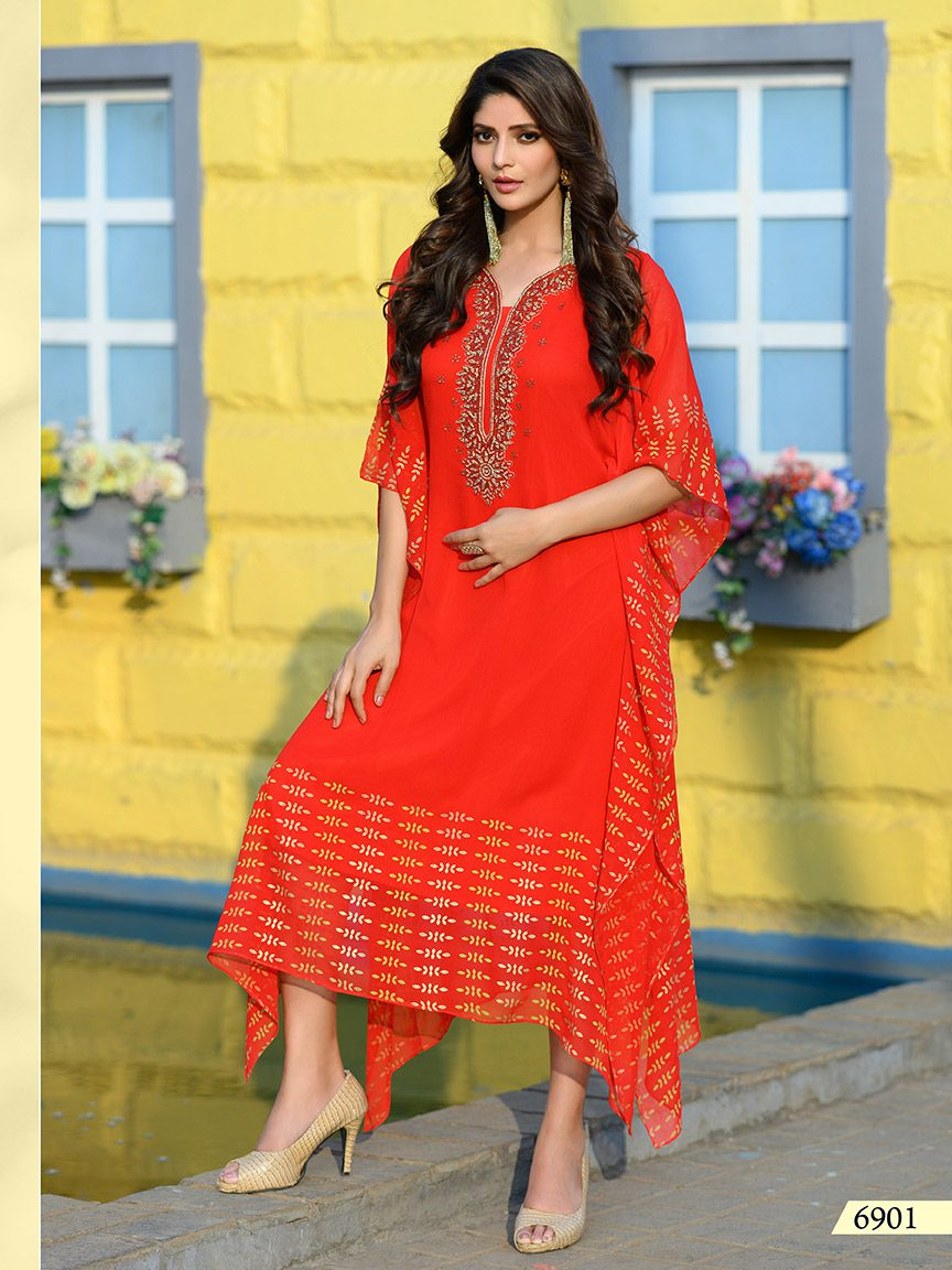 Tangerine orange viscose georgette kaftan with prints and embroidery
