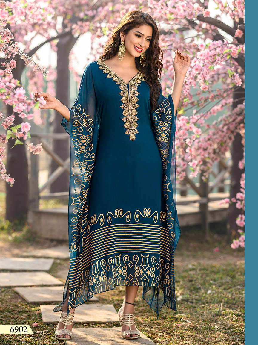 Greenish blue viscose georgette kaftan with prints and embroidery