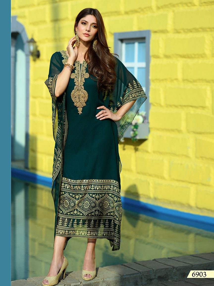 Bottle green viscose georgette kaftan with prints and embroidery