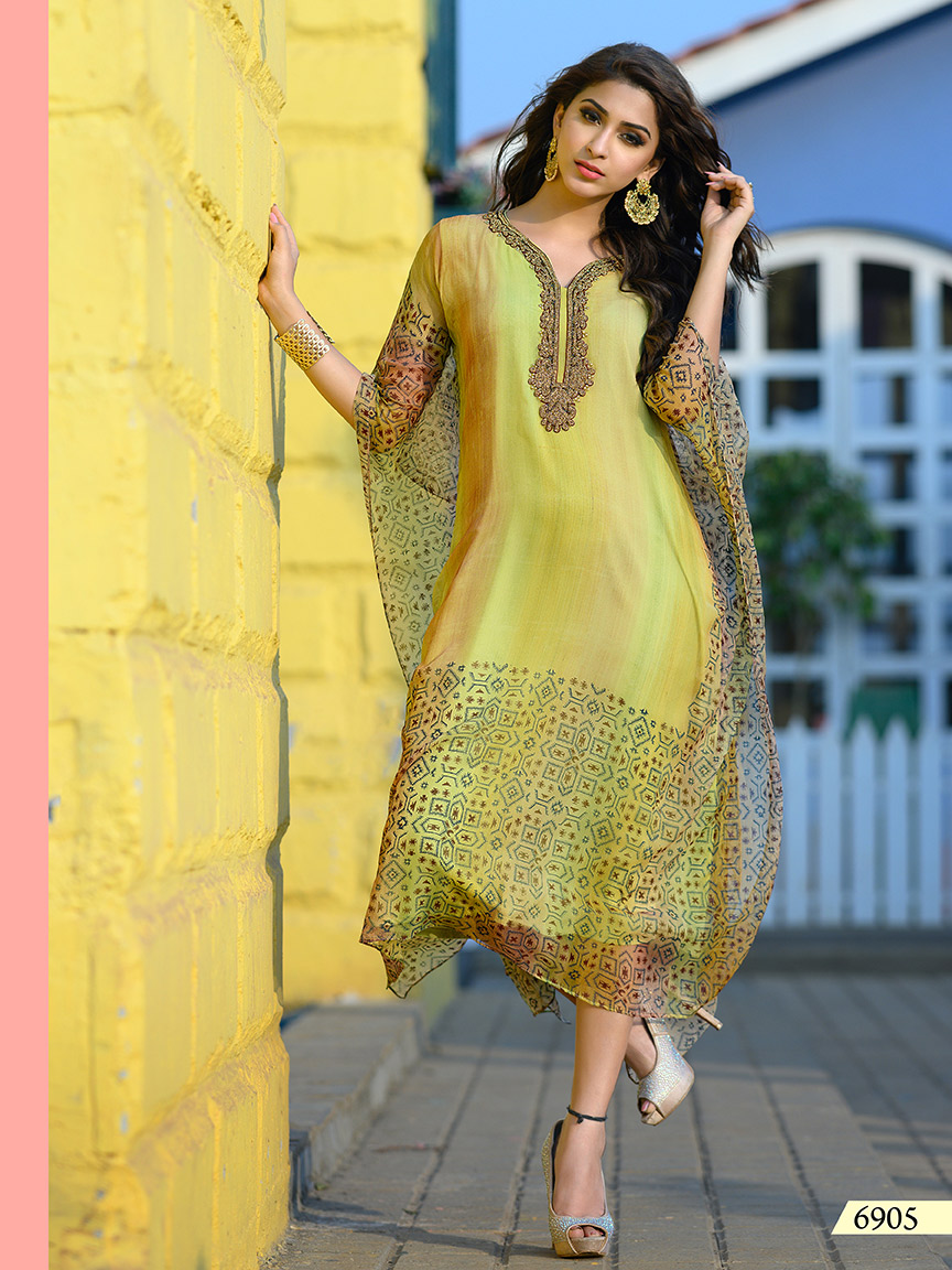 Lime green chiffon kaftan with heavy embroidery on neckline