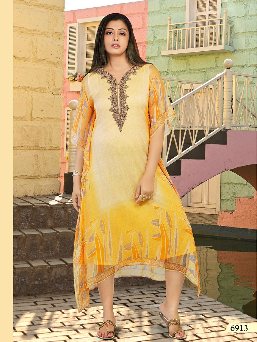 Sunshine yellow chiffon kaftan