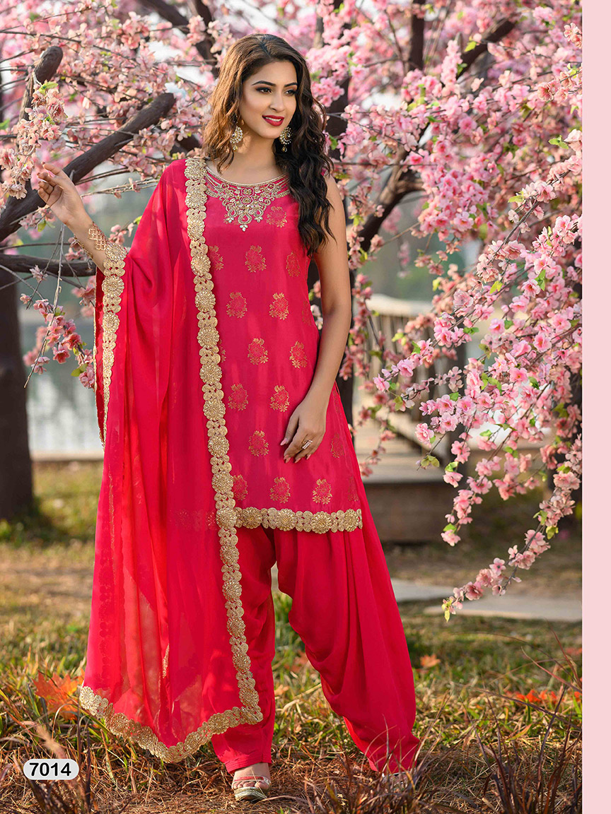 Rani pink viscose georgette sharara set with prints and gota work