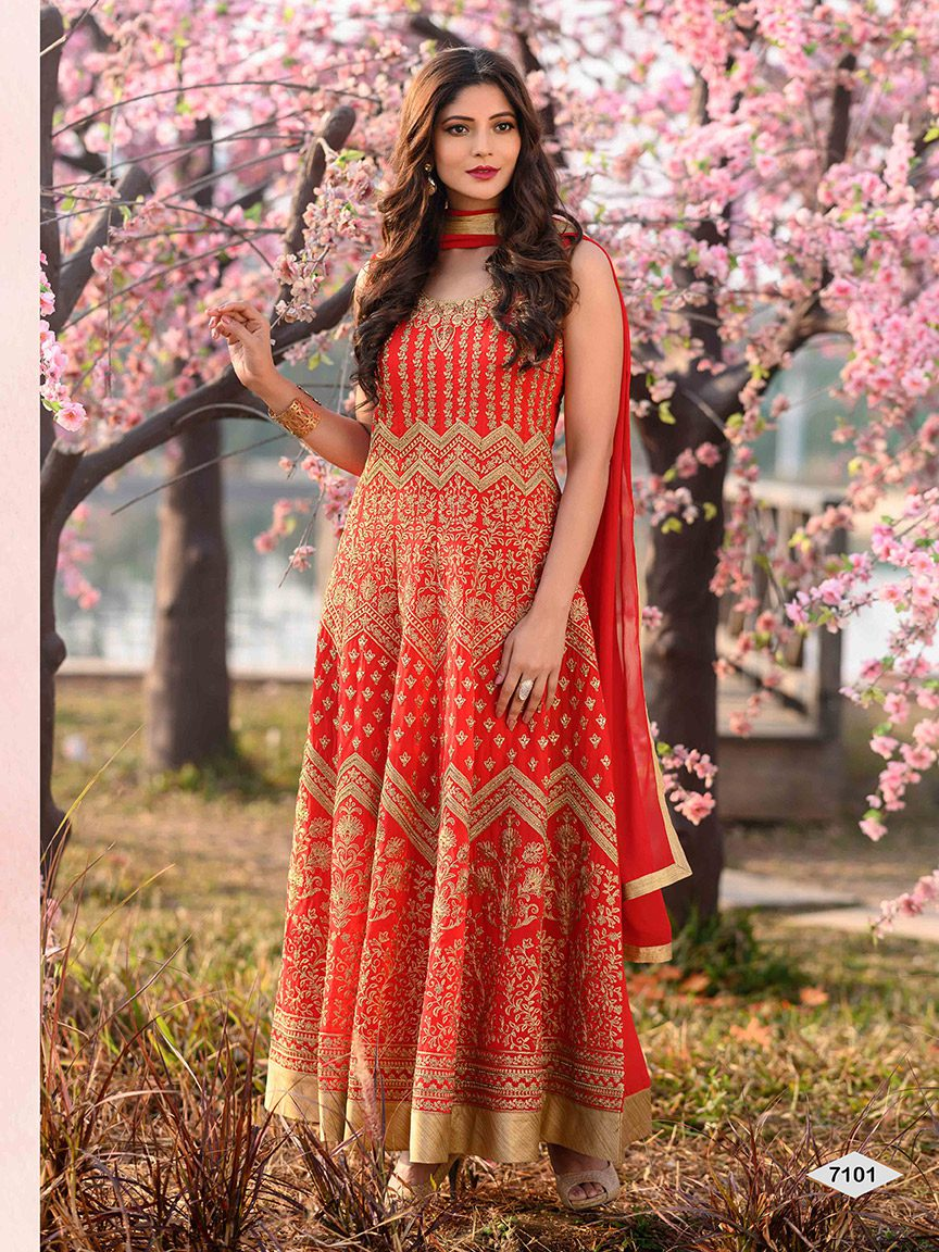 A perfect bold red viscose georgette Anarkali with intricate embroidery