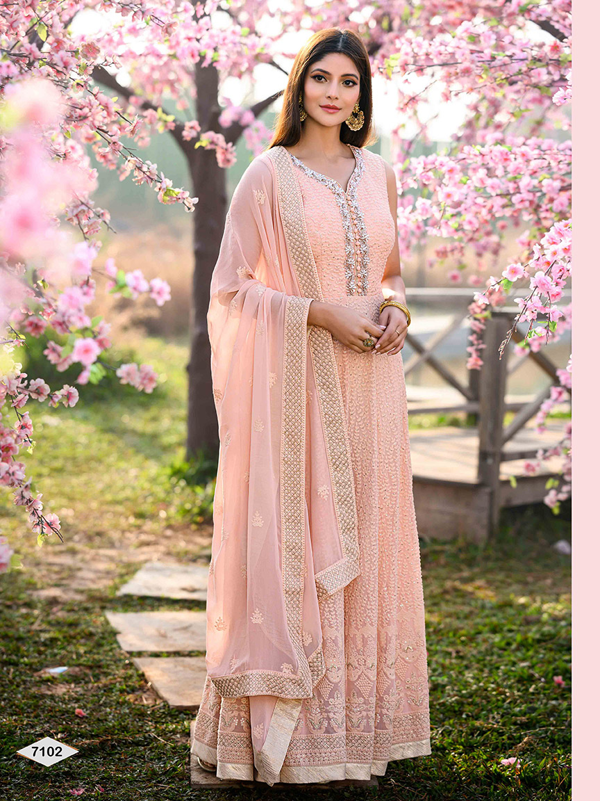 Pretty in (baby) pink viscose georgette anarkali with beautiful thread work