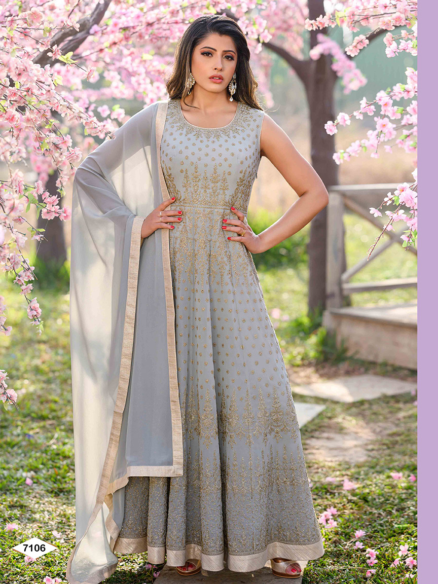 Soft grey coloured viscose georgette anarkali with golden thread work