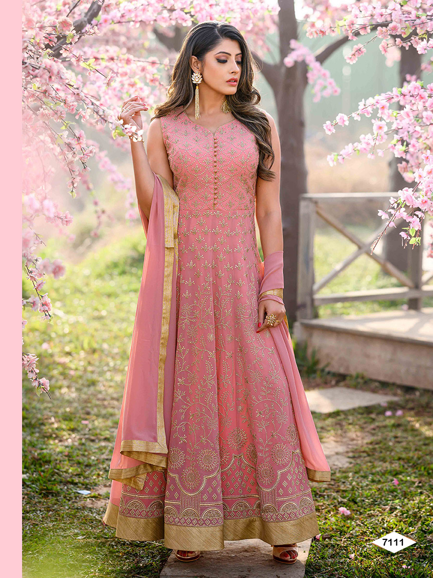 Lightweight pink viscose georgette anarkali with soft embroidered patterns