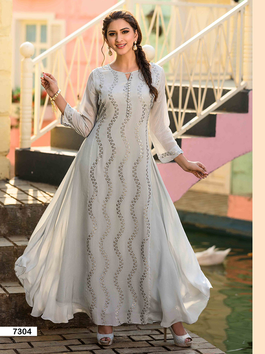 A 2-in-1 flowy greyish blue chinon kurti