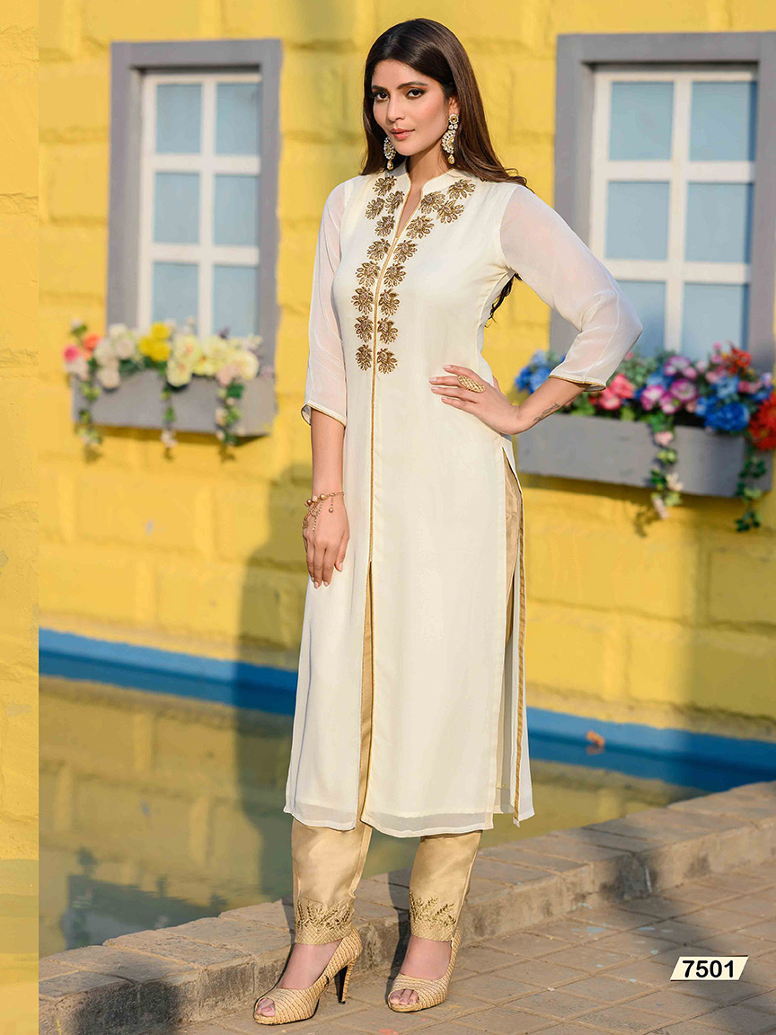 Elegant white Viscose Georgette kurti with intricate golden hand embroidery