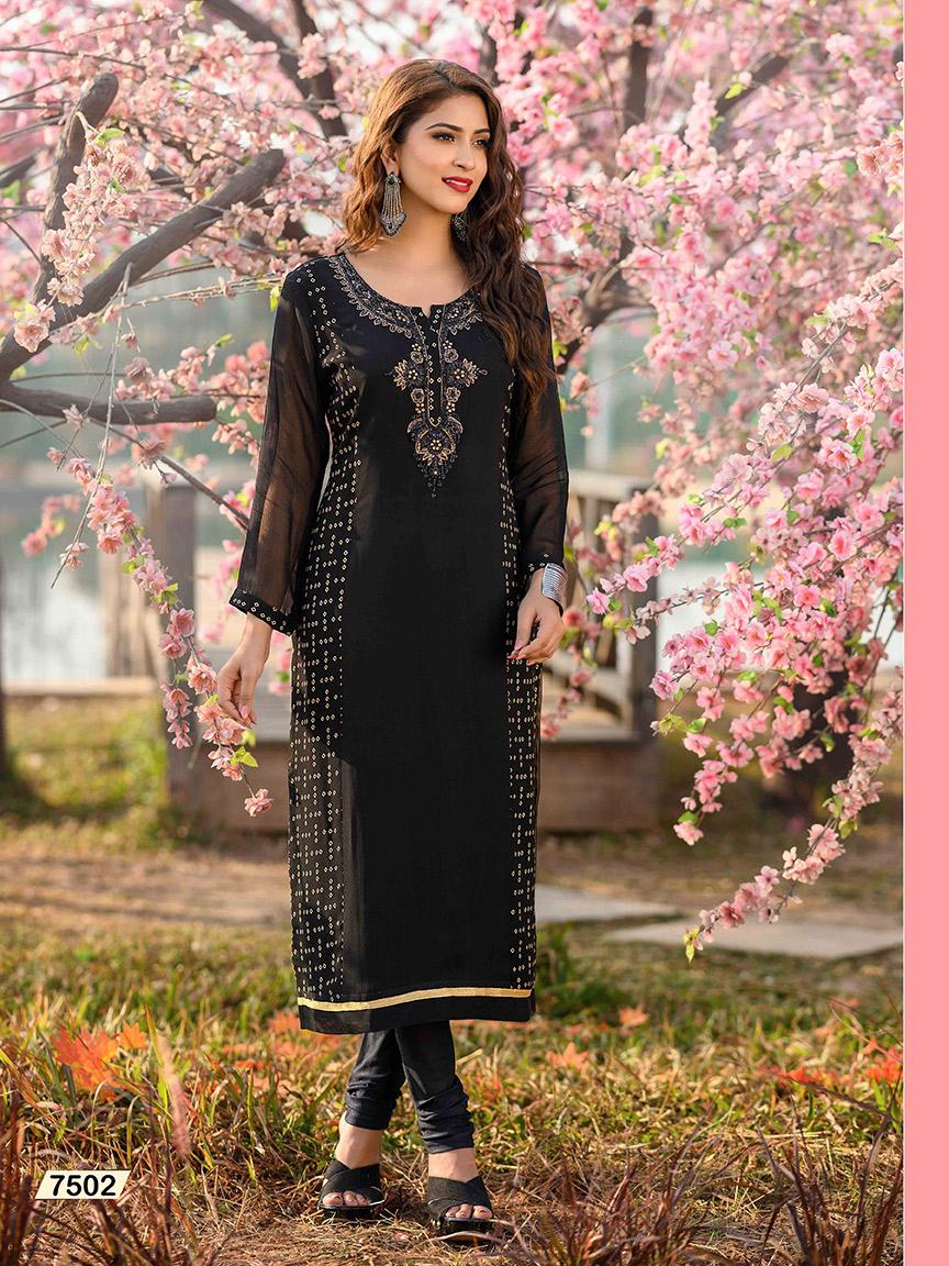 Enticing black Viscose Georgette kurti with golden hand embroidery