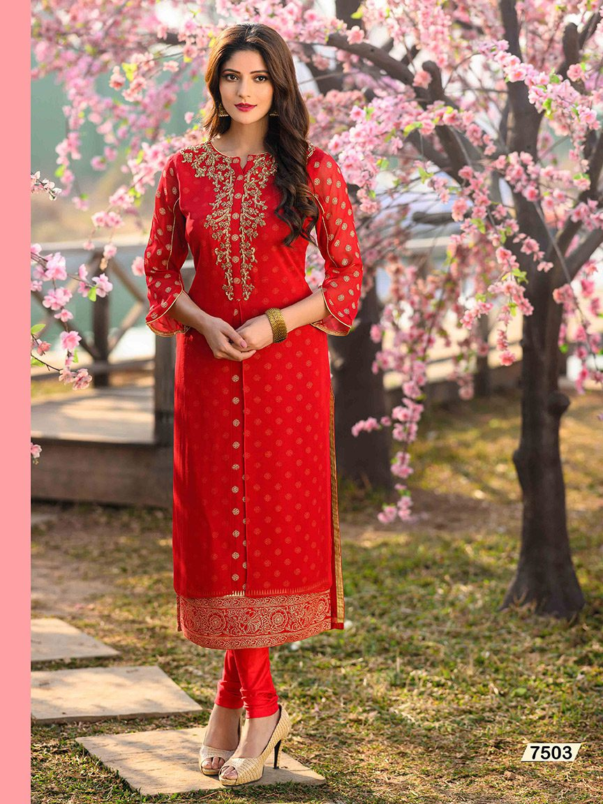 Traditional Red Viscose Georgette Kurti with golden embroidery
