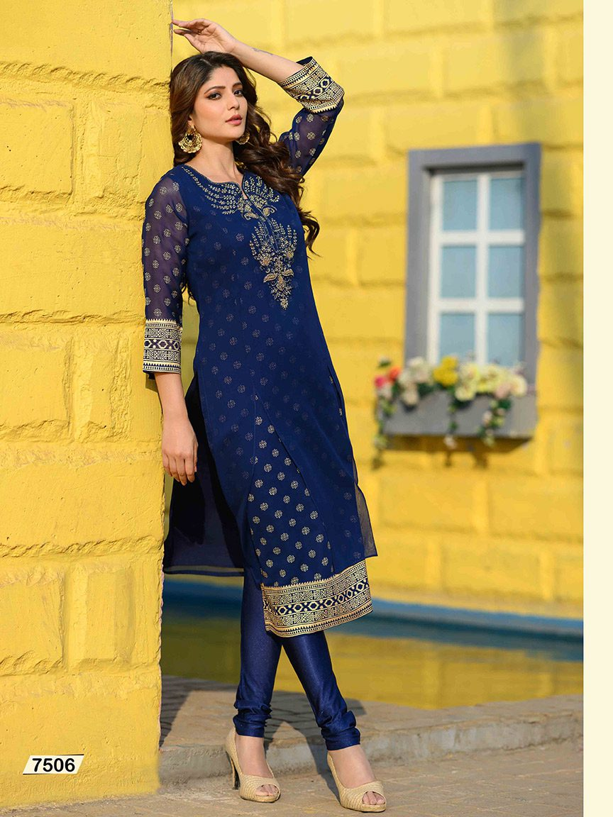 Look beautiful with blue Viscose Georgette hand-embroidered kurti