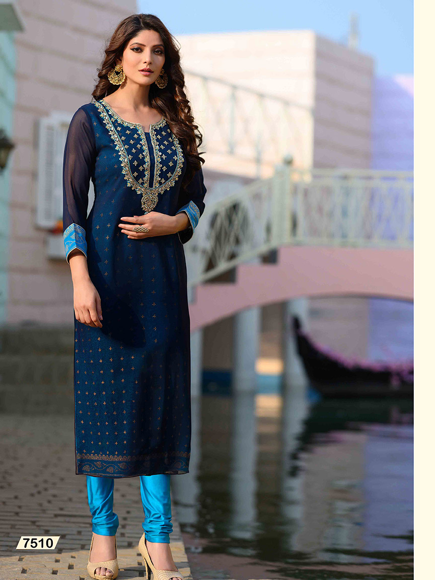 Blue Viscose Georgette kurti with mirror-work embroidery