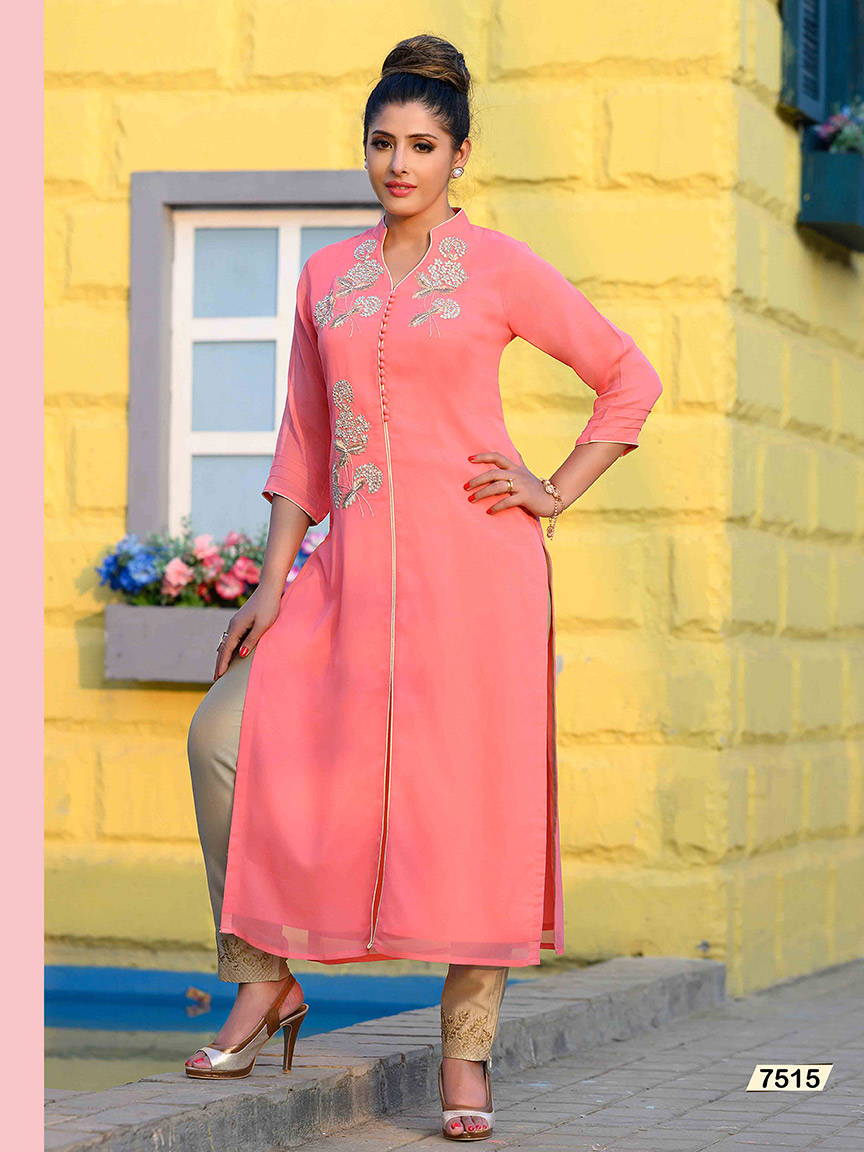 Pink Viscose Georgette kurti with hand embroidered flowers