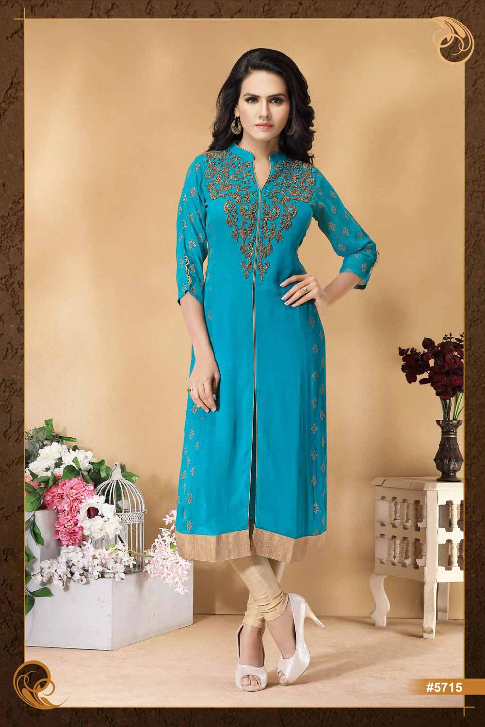 Kurti with beautiful hand embroidery at the yoke.