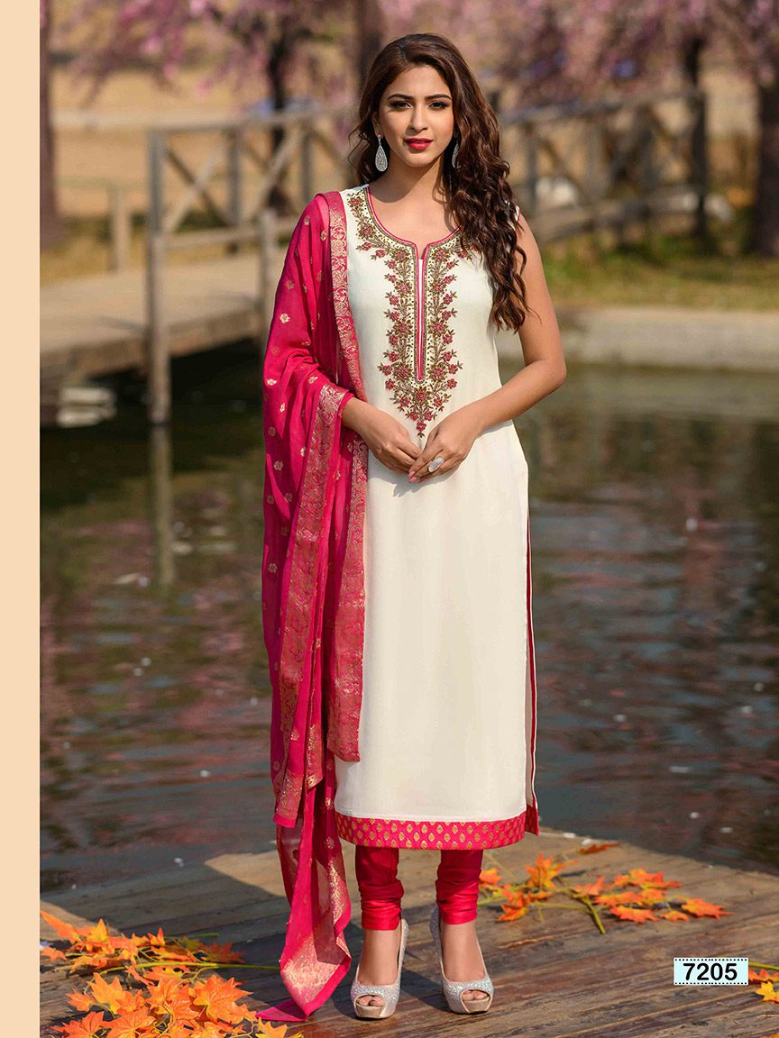 Off white viscose georgette kurti with hand embroidery along the neck