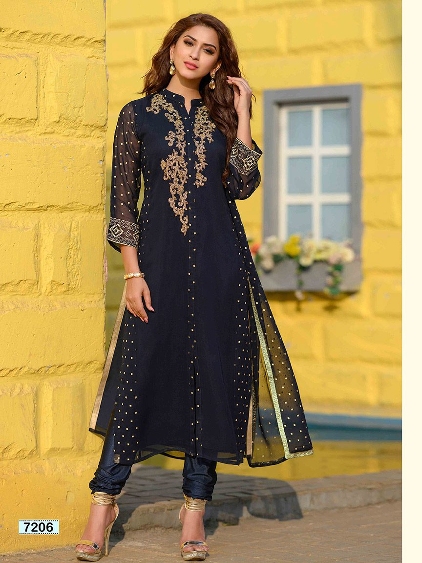 Dark blue viscose georgette kurti with golden embroidery