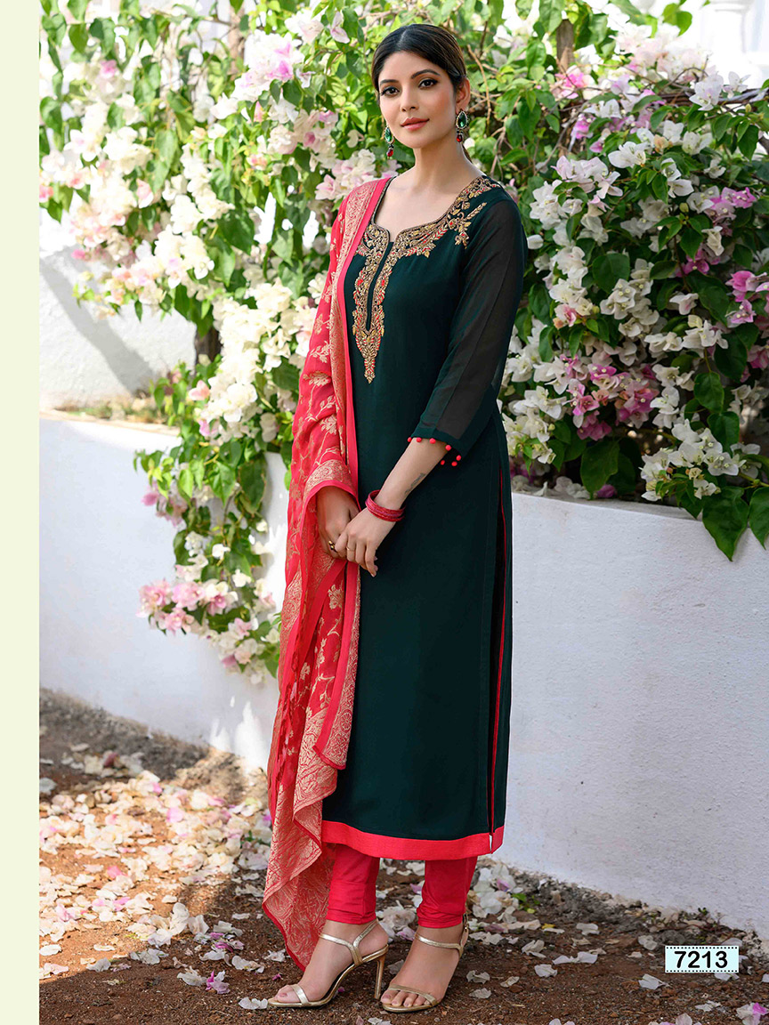 Bottle green embroidery viscose georgette kurti with red churidar