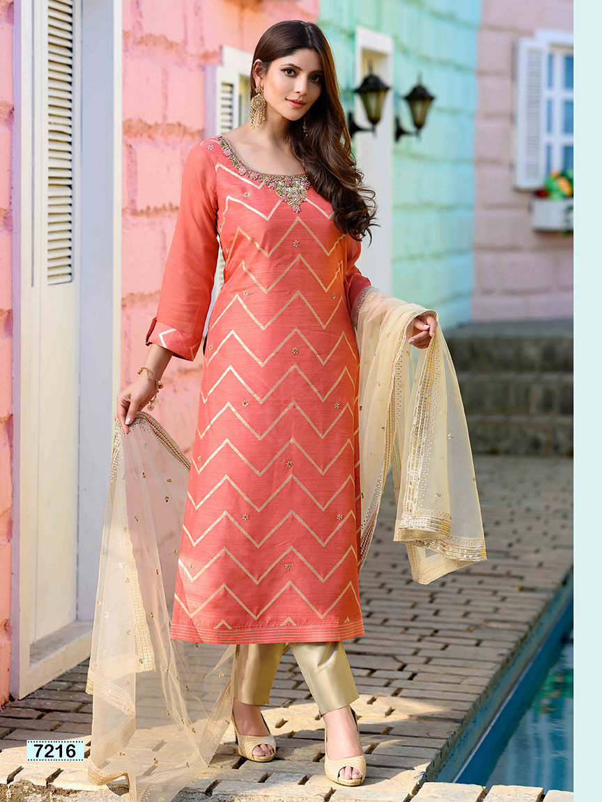 Powder pink brocade silk linear design kurti