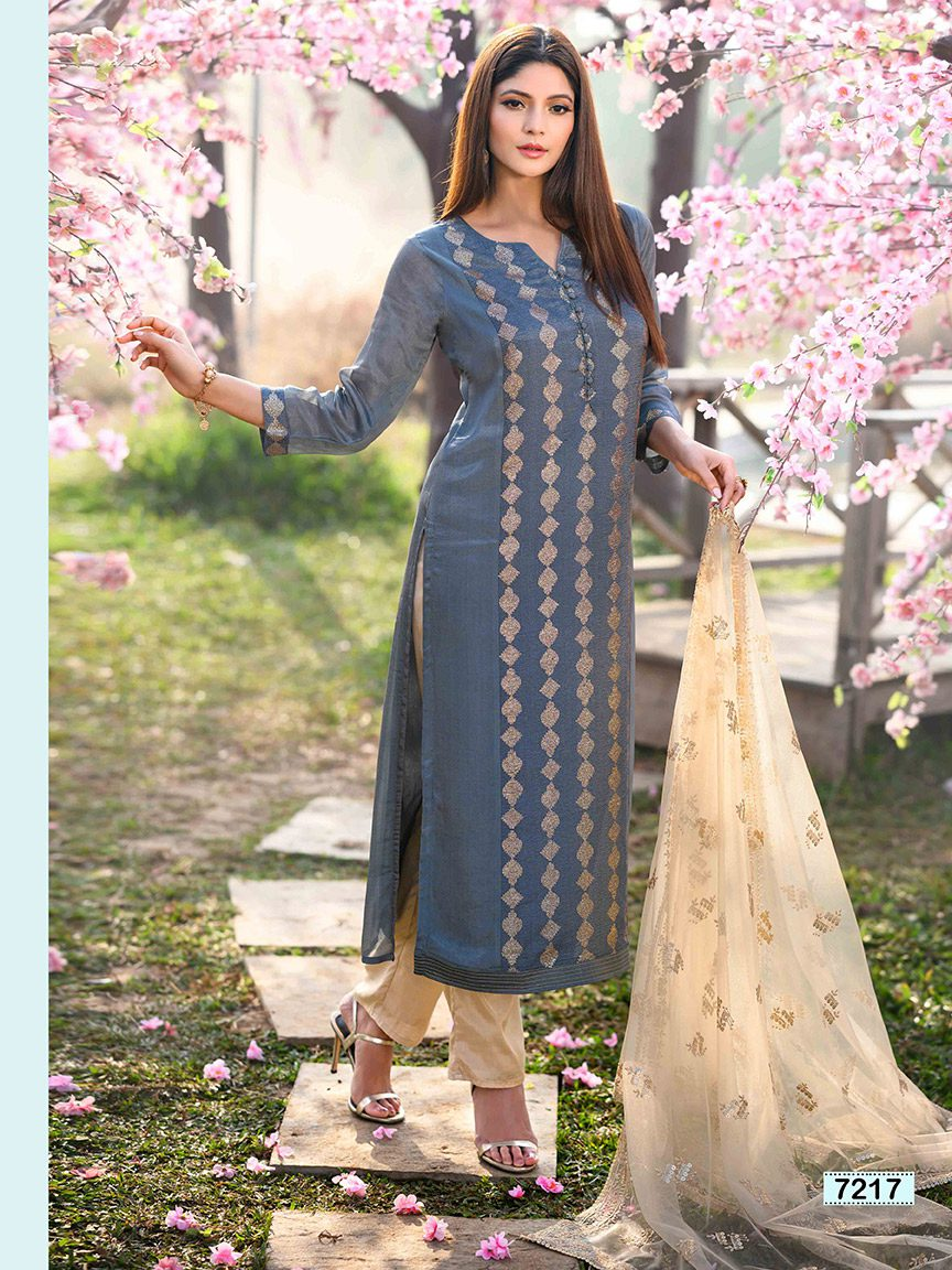 Powder blue chinon kurti with vertical gotta design