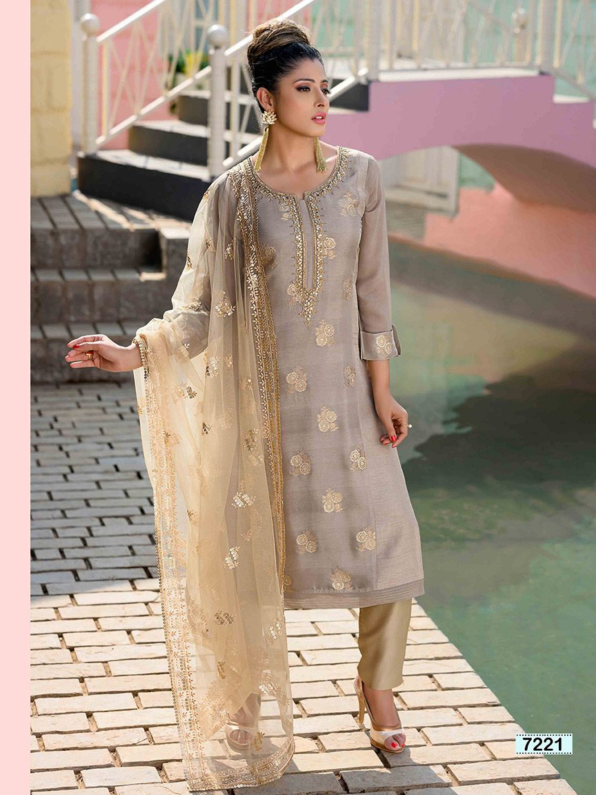 Grey brocade silk kurti with embroidery and gota work