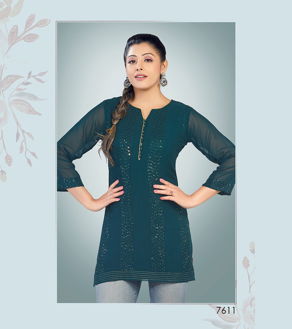 Deep green viscose georgette short kurti with sequin detailing