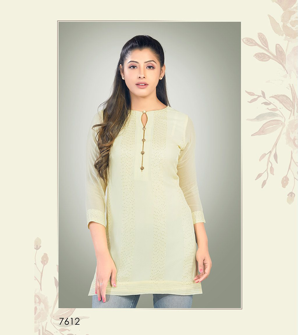 Light yellow viscose georgette short kurti with sequin detailing