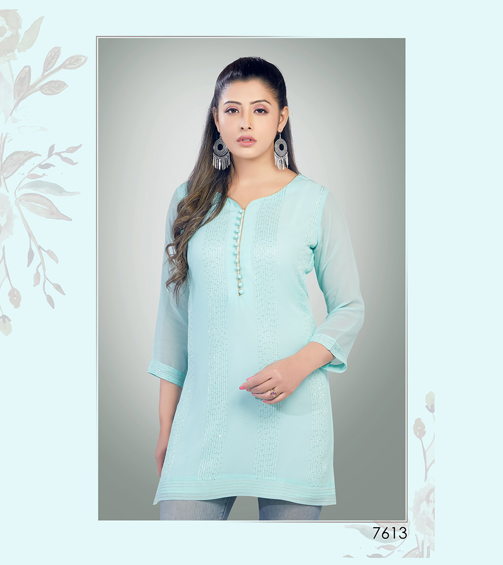 Light blue viscose georgette short kurti with sequin detailing