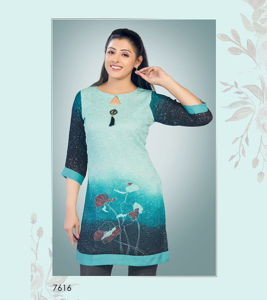Printed aqua blue viscose georgette short kurti
