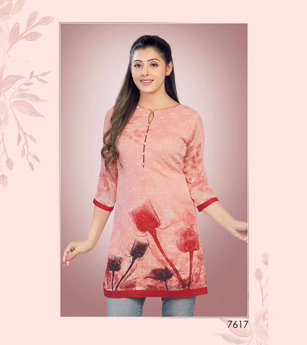 Printed blush pink viscose georgette short kurti
