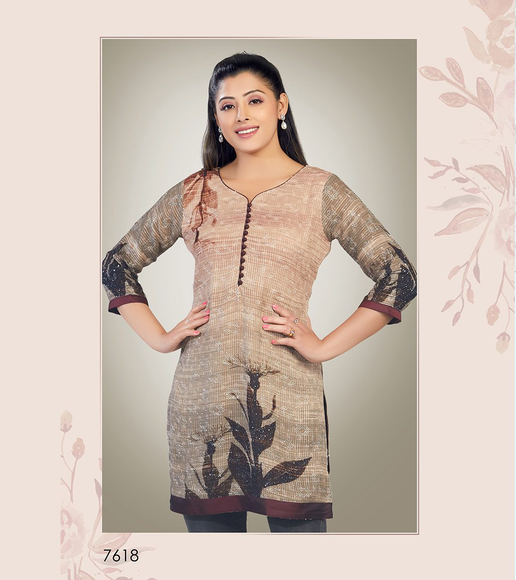 Block printed nude viscose georgette short kurti