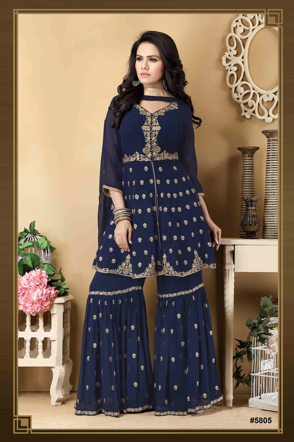 Party wear Sharara with gorgeous hand embroidery