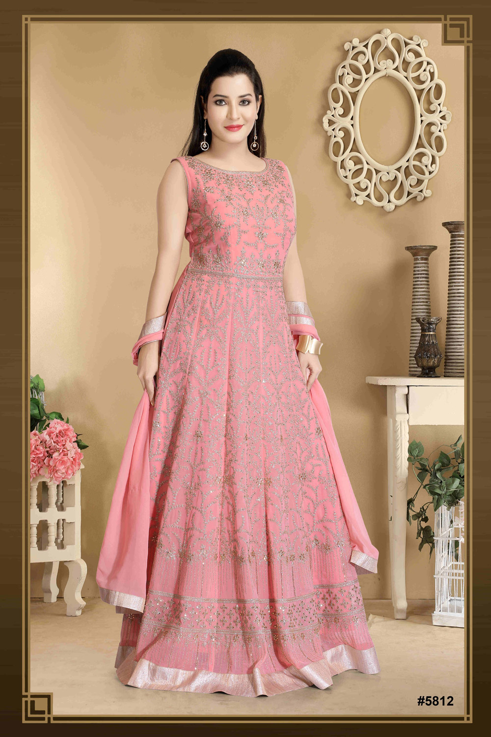 Embroidered pastel Anarkali in viscose georgette