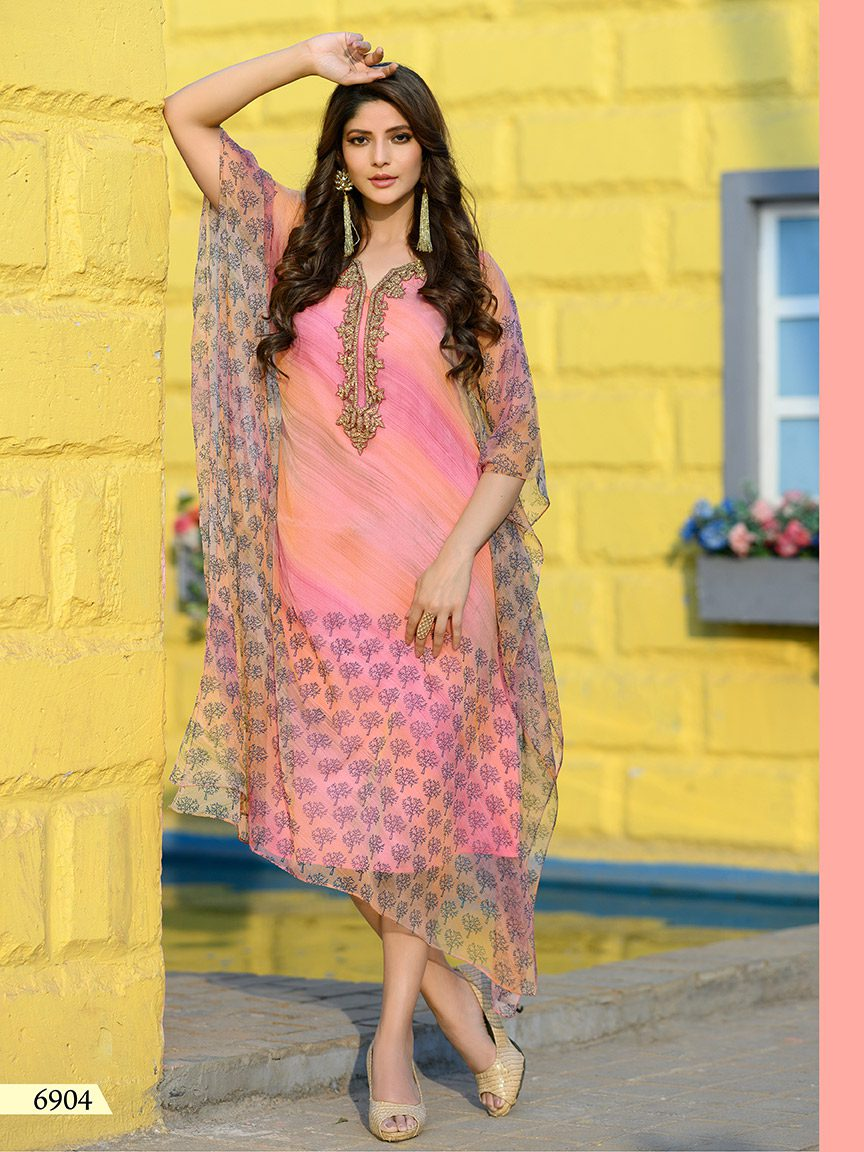 Pink Chiffon kaftan with light embroidery