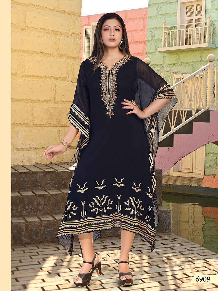 Black viscose georgette kaftan with golden print