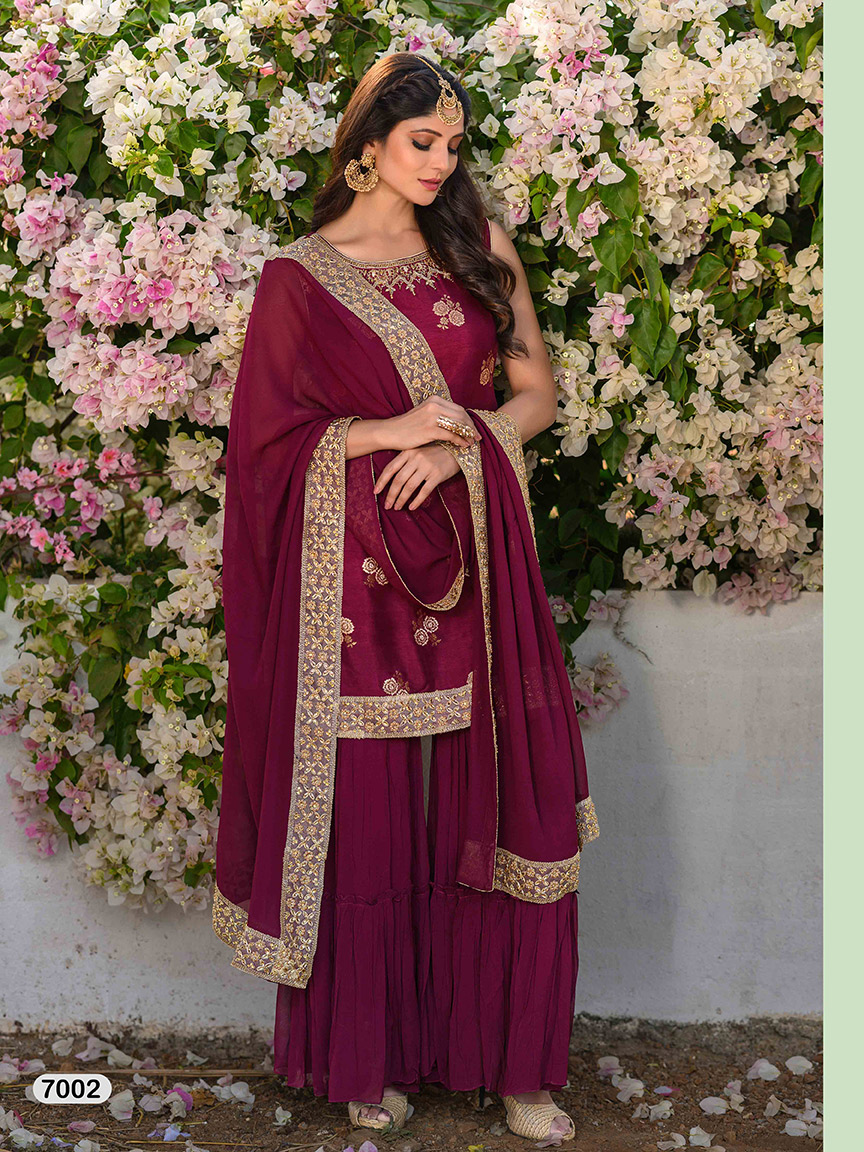 Magenta purple viscose georgette sharara set with gota work