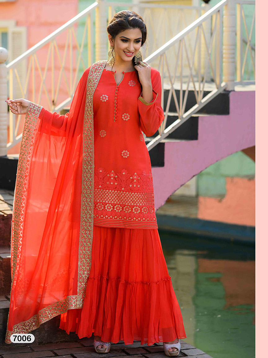 Deep orange viscose georgette sharara set with light work