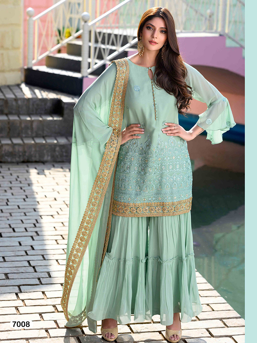 Mint blue viscose georgette sharara set with thread work and golden embroidery